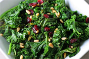 sauteed kale with cranberries and pine nuts